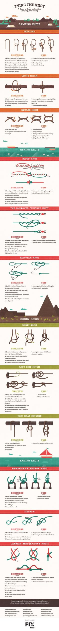 Infographic: How to tie different types of knots