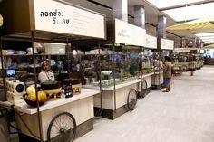 Central Embassy Eathai – Bangkok's Upmarket Foodcourt Gathers The Best Of Thai Cuisines Mall Design, Kiosk Design, Retail Design, Hotel Restaurant, Thai Restaurant, Restaurant Design, Stand Modular, Food Court Design, Food Kiosk
