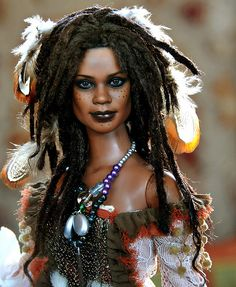 Black barbie with locs and freckles! This would be a fun Barbie to have. William Eggleston, Diva Dolls, Art Dolls, Ooak Dolls, Man Ray, Tia Dalma, African American Dolls, Pin Up, Black Barbie