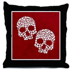 Love to the Bone Throw Pillow by mia - CafePress Skull Shower Curtain, Fabric Shower Curtains, Witchcraft Symbols, Skull Fabric, Modern Witch, Designer Throw Pillows, Pillow Design, Color Combinations, Bones