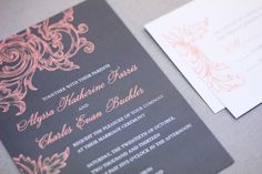 coral and grey wedding invitations Check more image at http://bybrilliant.com/3103/coral-and-grey-wedding-invitations