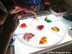 Light Table Color Mixing Baking Soda Vinegar bubbling