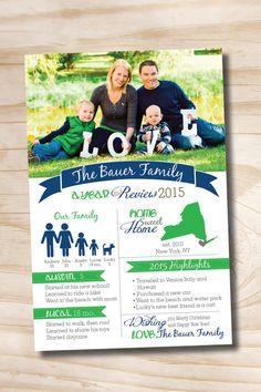 YEAR IN REVIEW Custom Family Christmas Holiday Photo Digital Card- diy, you print, printable