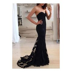 Custom made sweetheart black lace long prom dress,evening dress,formal... ❤ liked on Polyvore featuring dresses, long prom dresses, sweetheart neckline dress, lace formal dresses, prom dresses and long dresses