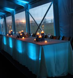 #Headtable #uplighting using uplights underneath the table to illuminate linens.  #RentMyWedding