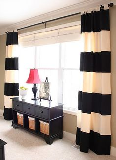 black and white stripes on striped curtain fabric for window decoration