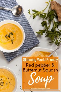 Red Pepper and Butternut Squash Soup - How to make this delicious soup that the whole family will enjoy. This delicious dish makes a healthy mid-week meal or weekend dinner for the whole family. It's great if you're following a Slimming World weight loss plan or diet. Low in calories, fat and low syn. #healthy #slimmingworld #lowsyn #synfree #weightloss #healthy #lowcalorie #soup #butternutsquash #lunch Slimming World Soup Recipes, Healthy Soup Recipes, World Recipes, Fall Recipes, Dinner Recipes, Delicious Recipes, Healthy Lunches, Dinner Ideas, Vegan Recipes