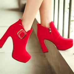 Buckle Embellished Zipper Red Suede Ankle Boots