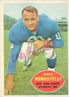 1960 Topps Andy Robustelli Football autographed trading card