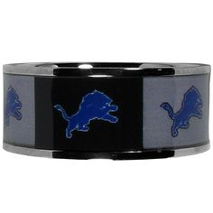 Detroit Lions Steel Inlaid Ring Size 10