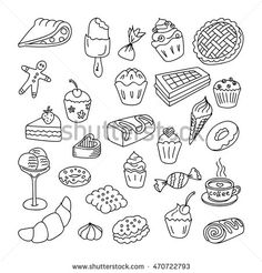 Set doodles elements bakery and desserts.