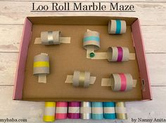 Loo Roll Marble Maze | Nanny Anita | My Baba Easy Crafts For Kids, Toddler Crafts, Things To Do Inside, Fun Things, Marble Maze, Maze Puzzles, Worry Dolls, Activity Board, Make Your Own