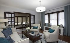 Buying & Selling | BUDGET BLINDS | Mike & Steve | LIVING ROOM REVEAL: Inspired Drapes Essential Linens panels in Spa Blue