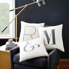 Alphabet Pillow Covers #westelm.    Guess what letters I'm going to get ;)