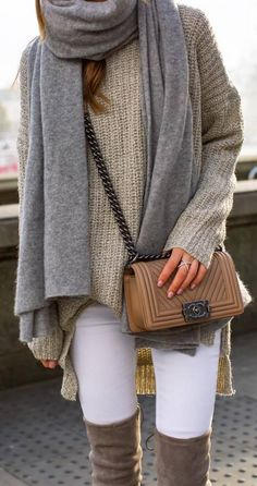 fashionable outfit / cashmere scarf + bag + knit sweater + white skinnies + over the knee boots