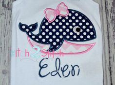 Girly Whale Applique Design (Font NOT included) 4x4, 5x7, and 6x10  INSTANT DOWNLOAD now available by TheItch2Stitch on Etsy https://www.etsy.com/listing/150684450/girly-whale-applique-design-font-not