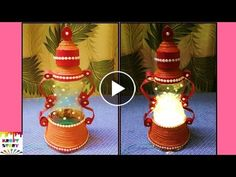 DIY Fairy House with Attic using Two Jars In this video tutorial I show you how I made a medium size fairy house with attic using two jars (one on top of the. Diwali Diy, Diwali Craft, Diy Crafts How To Make, Diy Crafts Videos, Plastic Bottle Crafts, Recycle Plastic Bottles, Diy Diwali Decorations, How To Make Lanterns, Newspaper Crafts