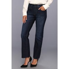 NYDJ Petite Hayden Straight Leg in Burbank Women's Jeans, Black ($80) ❤ liked on Polyvore featuring jeans, black, high-waisted jeans, high rise straight leg jeans, black high waisted jeans, high waisted straight leg jeans and stretch straight leg jeans