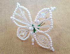 Tembleque Panameños  horquilla  mariposa blanca pelo Pin