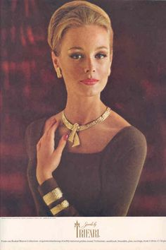 """1962 - TRIFARI - ADS - """"Basket Weave Collection"""" - From our Basket Weave Collection: exquisite interlacing of softly textured golden-toned Trifanium: necklaces, bracelets, pins, earrings, from 5.00 to 17.50 plus tax. Harper's Bazaar 1962"""