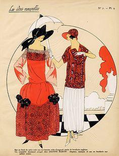 1923 Jeanne Baron ''Les Idees Nouvelles de la Mode'' Fashion Art Deco Pochoir ''Tres Parisien''