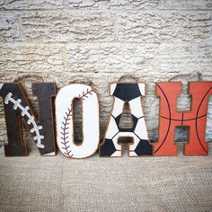Sports Nursery Wall Letters-Wood Letters-Baseball Nursery-Vintage Sports Nursery-Basketball Nursery-Football Nursery-Hanging Letters  Picture