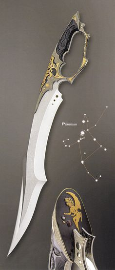"""Sirius Knight"" (2004); ""Arcturus"" (2004); ""Perseus"" (2004)  by Jose C. de Braga    (from: Art and Design in Custom Fixed-Blade Knives; Dr. David Darom; Chartwell Books, 2007. - ISBN 13: 9780785822684)"