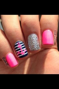 Pink silver glitter blue and white nautical themed nails❤️❤️❤️ anchor nail art, nautical nail art❤️❤️❤️