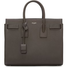 Saint Laurent Taupe Leather Small Sac Du Jour (3,015 CAD) ❤ liked on Polyvore featuring bags, handbags, tote bags, leather purse, brown purse, leather tote, structured tote bag and tote