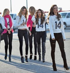 VS uniform: The ladies all wore their Angel hooded sweatshirts and black jeans...