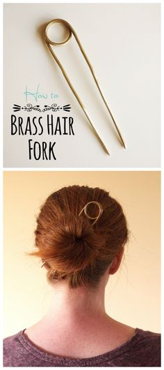 Brass Hair Fork Tutorial from Bead It + Weep.Make your own. (TrueBlueMeAndYou: DIYs for Creative People) DIY Brass Hair Fork Tutorial from Bead It Weep.Make your own.DIY Brass Hair Fork Tutorial from Bead It Weep.Make your own. Hair Jewelry, I Love Jewelry, Brass Jewelry, Jewlery, Chopstick Hair, Work Hairstyles, Barrettes, Gabel, Hair Beads
