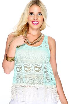 This casual top is perfect for any sunny day! Featuring sleeveless, round neck crochet fabric, followed by a fitted wear. 100% polyester.