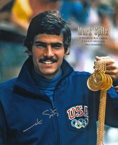 Mark Spitz - In 1972. Spitz claimed seven gold medals and broke seven world records in the process (100m freestyle, 200m freestyle, 100m butterfly, 200m butterfly, 4×100m freestyle relay, 4x200m freestyle relay and 4×100m medley relay)