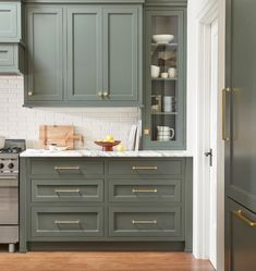 Taupe Kitchen Cabinets, Green Cabinets, Kitchen Cabinet Colors, Kitchen Hardware, Kitchen Redo, Kitchen Cabinets To Ceiling, Green Kitchen Cupboards, Kitchen Color Schemes, Vintage Kitchen Cabinets