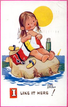 MABEL LUCIE ATTWELL card | eBay swimming girl rock art