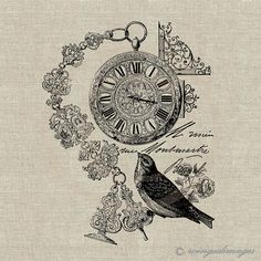 INSTANT DOWNLOAD Antique French Pocket Watch Bird by WingedImages, $1.00
