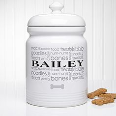 Show your love for your pet with the Doggie Delights Personalized Dog Treat Jar. Find the best personalized pet gifts at PersonalizationMall.com