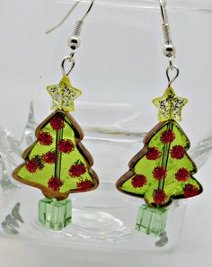 Christmas Tree Earrings, Christmas Droppers, Festive Earrings, Secret Santa, stocking fillers, gift for her, Holiday Earrings, Sparkly by PyewacketsPlace on Etsy