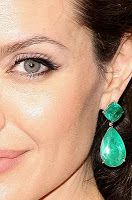 "At last years Academy Awards, Angelina Jolie wore these incredible emerald earrings by Lorraine Schwartz. They were breathtaking and caused a lot of buzz on the red carpet. They are worth $2.5 million!These are my ""Angelina Earrings"". I used a emerald green swarovski rivolis for the top section and"