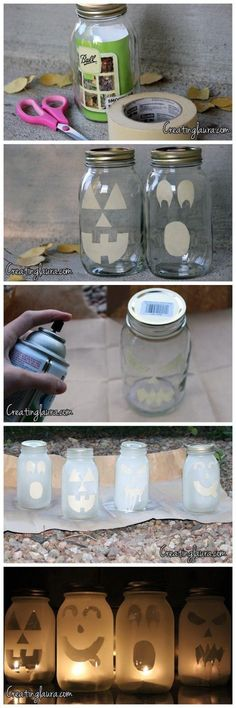Halloween jars! This is pretty neat. You could get creative and use this idea for any holiday!