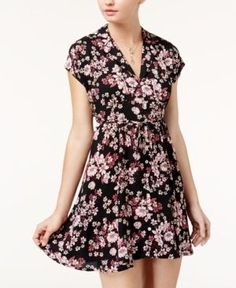 American Rag Juniors' Floral-Print Shirtdress, Created for Macy's - Black XXL