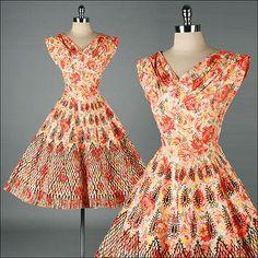 3208 | Vtg 50s Orange Floral Glitter Flock Cocktail Party Full Skirt Dress XS/S