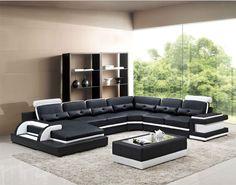 Large corner leather sofa for modern sectional sofa U shaped sofa for living room sofa furniture Big Living Rooms, Living Room Sofa Design, Living Room Sectional, Living Room Designs, Sectional Sofa, Modern Sectional, Sofa Furniture, Living Room Furniture, Leather Corner Sofa