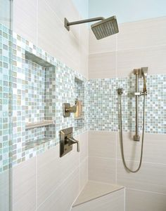 House of Turquoise featured a gorgeous shower by designer Carla Aston Bad Inspiration, Decoration Inspiration, Bathroom Inspiration, Decor Ideas, Bathroom Renos, Small Bathroom, Master Bathroom, Bathroom Ideas, Serene Bathroom
