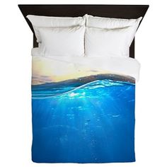 Shop Underwater Ocean Queen Duvet designed by Daecu. Lots of different size and color combinations to choose from. Full Duvet Cover, Duvet Covers, Underwater Bedroom, Boho Bedding, Bed Styling, Queen Duvet, Bedding Collections, Bed Spreads, Color Combinations