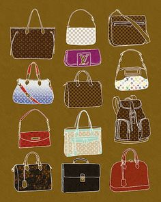 Louis Vuitton Bags - Fashion Illustration Art Print by BigFashionBook on Etsy / illustrated by Minjee Kang