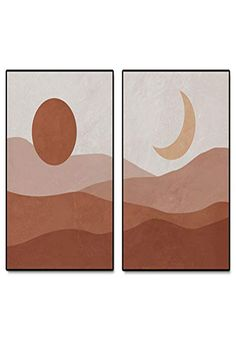 This Unique Set of 2 Art Prints are Great Decor for Your Room and Office. Abstract Landscape, Abstract Art, Beautiful Art Pictures, Upcoming Artists, Minimal Decor, Moon Art, Modern Wall Art, Online Art, Amazing Art