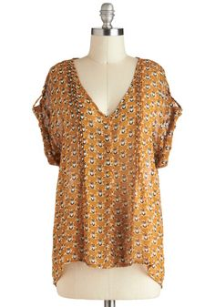 I'm a Wise One Top in Caramel - Mid-length, Tan, Black, White, Print with Animals, Buttons, Casual, Owls, Short Sleeves, V Neck