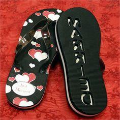 4f977d5d8d9da9 Red Hearts Just Married Flip Flops - Just Married Flip Flops - Honeymoon  Sandals - Wedding Flip Flops
