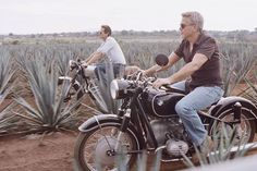 """Classy Golden Era on Instagram: """"George Clooney and Rande Gerber on a motorcycle road trip through the beautiful landscapes of Andalusia."""""""